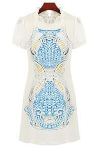 Blue Short Sleeve Ruffle Totem Pattern Print Dress