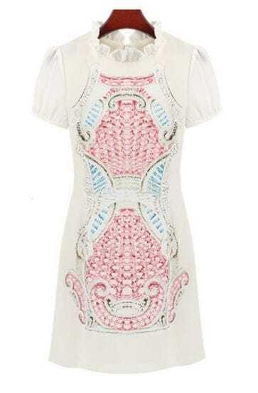 Pink Short Sleeve Ruffle Totem Pattern Print Dress
