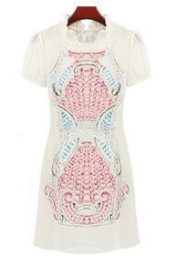 Pink Short Sleeve Ruffle Totem Pattern Print Dress