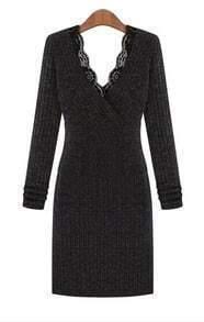 Dark Grey Long Sleeve Contrast Lace V Neck Dress