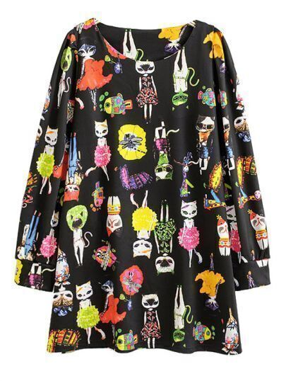 Black Long Sleeve Cats Cartoon Print Dress