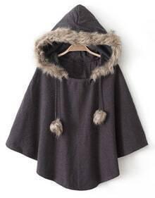Brown Hooded Faux Fur Cape Coat