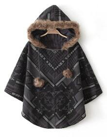 Brown Hooded Faux Fur Geometric Pattern Cape Coat