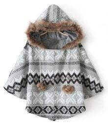Grey Hooded Faux Fur Geometric Pattern Cape Coat