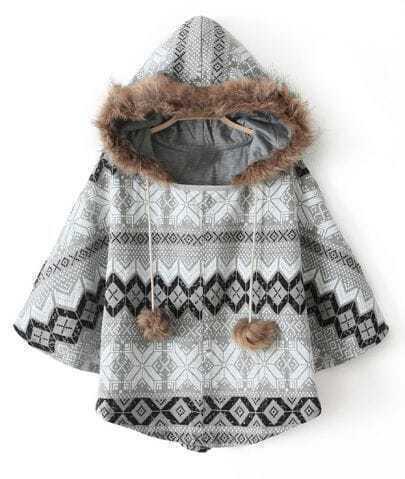 Grey Hooded Faux Fur Geometric Pattern Cape Coat