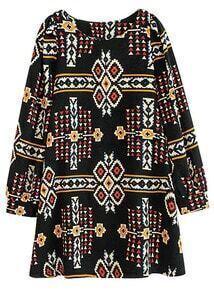 Black Long Sleeve Geometric Tribal Pattern Print Dress