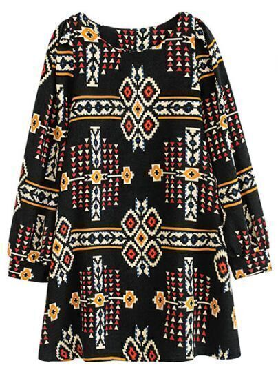 Black Long Sleeve Geometric Tribal Pattern Print Dress