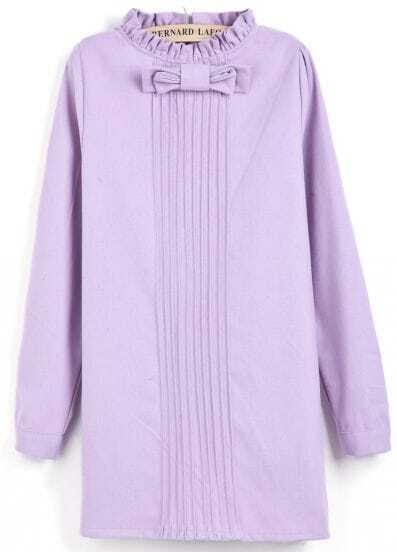 Purple Long Sleeve Bow Pleated Straight Dress