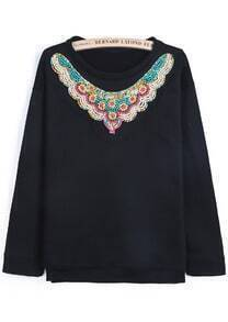 Black Round Neck Long Sleeve Bead Sweatshirt