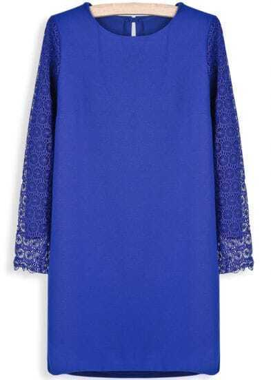 Blue Contrast Hollow Long Sleeve Straight Dress