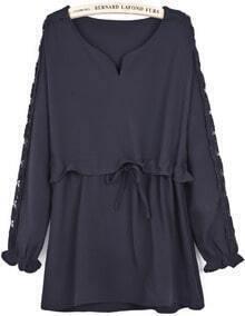 Black Contrast Hollow Long Sleeve Ruffle Dress