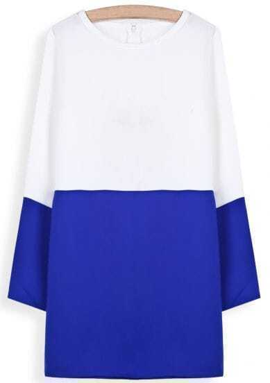 White Contrast Blue Long Sleeve Straight Dress