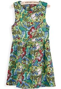 Green Sleeveless Vintage Floral Pleated Dress