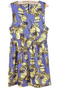 Blue Sleeveless Vintage Coins Print Pleated Dress
