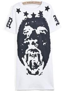 White Short Sleeve Stars Portrait Print Dress