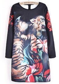 Black Long Sleeve Tiger Print Straight Dress