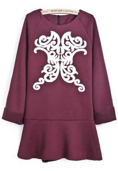 Wine Red Long Sleeve Vintage Floral Ruffle Dress