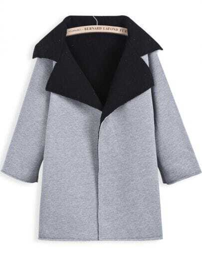 Grey Lapel Long Sleeve Simple Design Coat