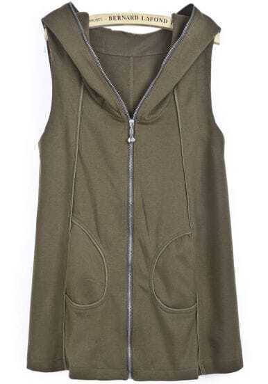 Green Hooded Sleeveless Zipper Pockets Vest