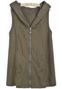 Green Hooded Sleeveless Zipper Pockets Vest