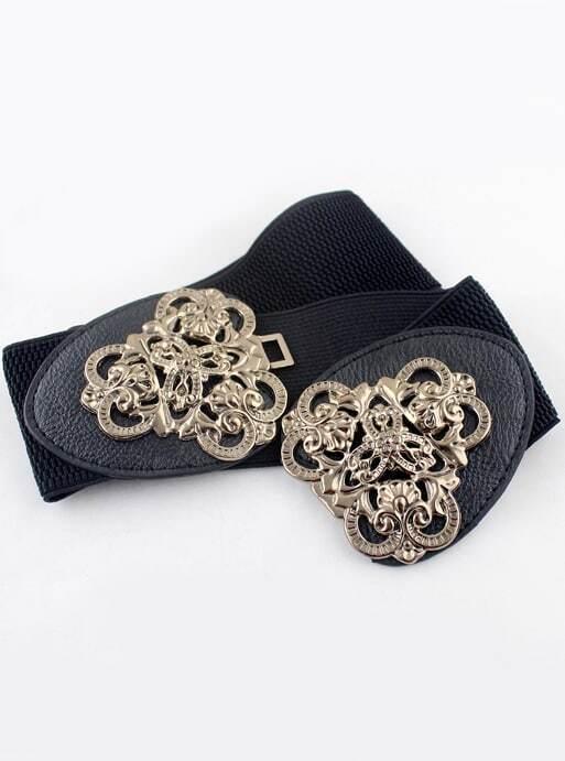 Black Elastic Metal Leather BeltBlack Elastic Metal Leather Belt<br><br>color: Black<br>size: None