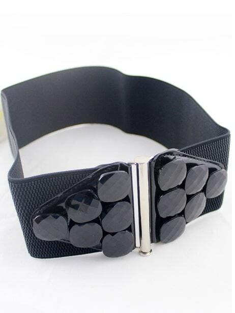 black gemstone embellished elastic wide belt shein sheinside