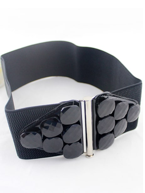 Black Gemstone Embellished Elastic Wide Belt