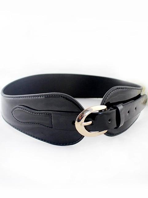 black patent leather buckle wide belt shein sheinside