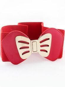 Red Metal Bow Elastic Wide Belt