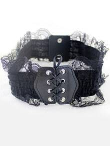Black Lace Drawstring Wide Belt