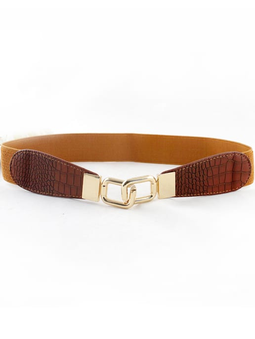 Yellow Snakeskin Metal Buckle Belt