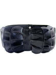 Black Multilayers Bow Elastic Wide Belt