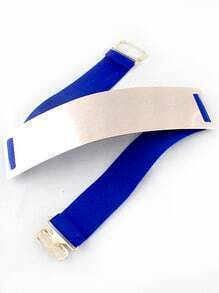 Blue Elastic Contrast Metal Wide Belt