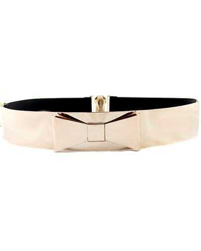 Black Bow Contrast Elastic Wide Belt