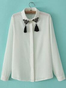 White Lapel Long Sleeve Bead Tassel Blouse