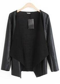 Black Long Sleeve Contrast Knit Crop PU Jacket