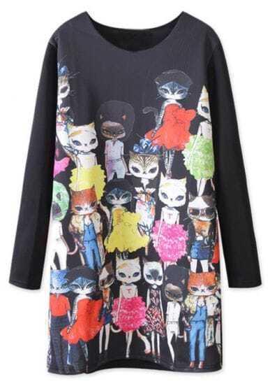 Black Long Sleeve Cats Cartoon Print Dress