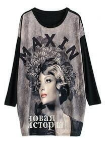 Black Long Sleeve Portrait Print Dress