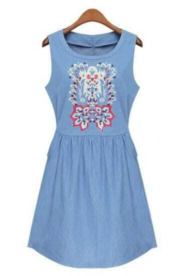 Blue Sleeveless Tribal Pattern Denim Dress