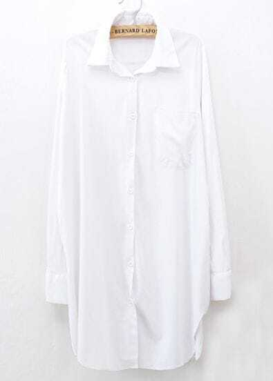 White Long Sleeve Pockets Lapel Oversized Blouse -SheIn(Sheinside)