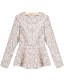 Pink Round Neck Long Sleeve Ruffle Lace Blouse
