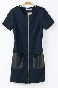 Navy Short Sleeve Zipper Contrast PU Pocket Dress