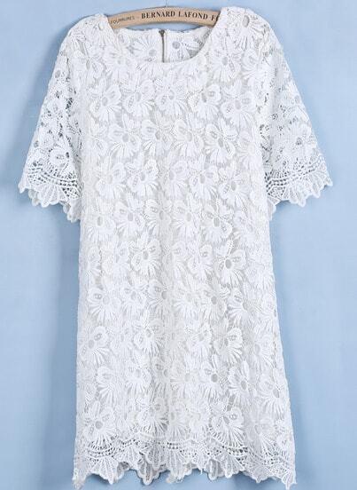 Vestido encaje hueco cuello redondo manga corta-blanco