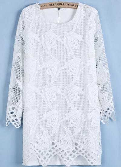 White Long Sleeve Hollow Lace Straight Dress