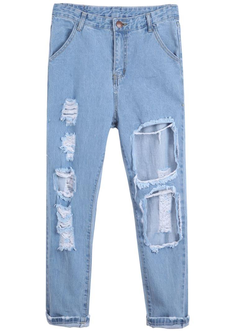 pantalon en jean d chir avec poches french shein sheinside. Black Bedroom Furniture Sets. Home Design Ideas