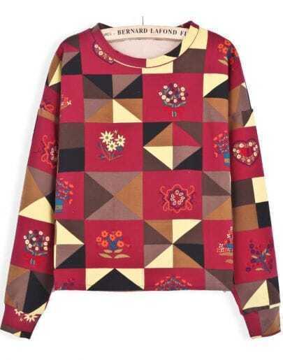 Red Long Sleeve Geometric Print Crop T-Shirt