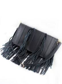 Black PU Leather Tassel Shoulder Bag