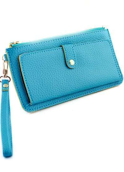 Blue Zipper PU Leather Clutches Bag