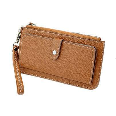Khaki Zipper PU Leather Clutches Bag