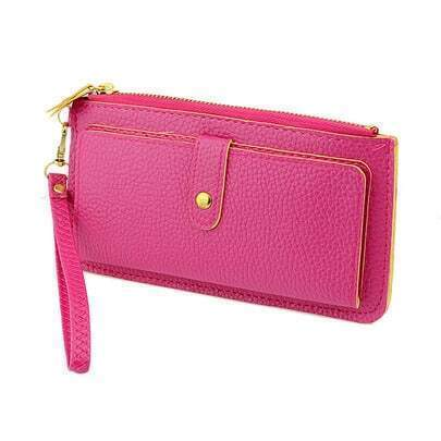 Rose Red Zipper PU Leather Clutches Bag